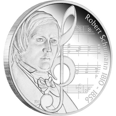 Composers 1oz Silver Proof Coin Robert Schumann 1810 -1856