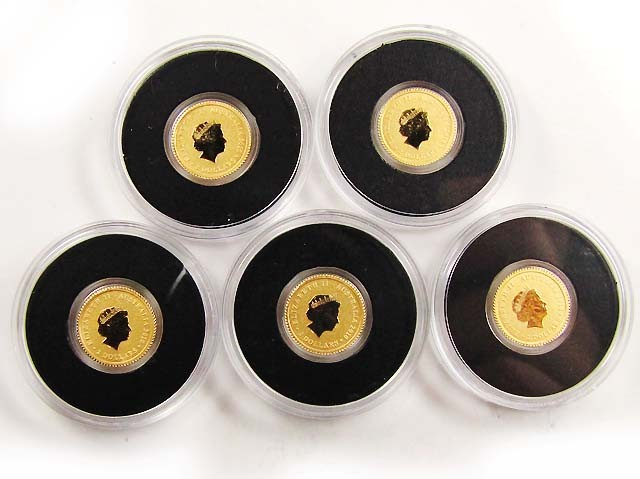 2010 Mini Roo 0.5g Gold Coin   FIVE  Coins in parcel