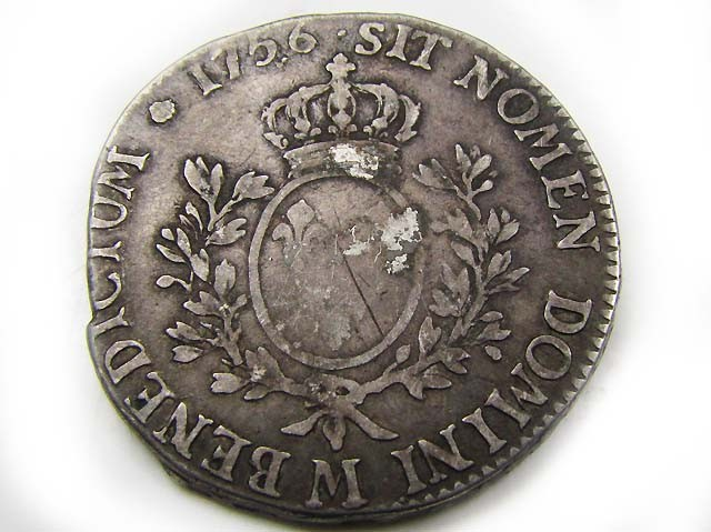 FRENCH LARGE SILVER 1756 ECUS LOUIS XV   AC 681