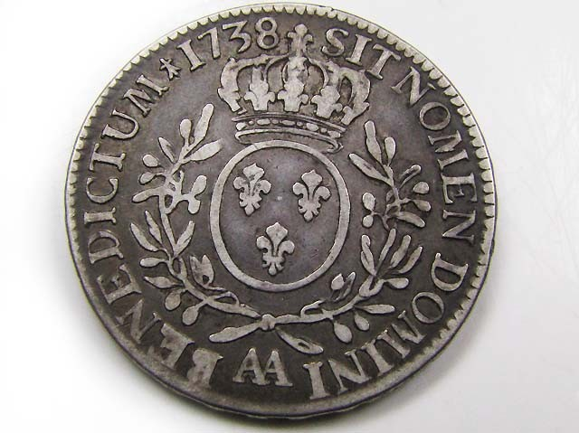 FRENCH LARGE SILVER 1738 ECUS LOUIS XV   AC 683