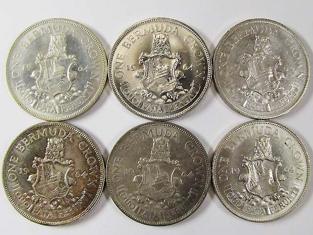 SIX 1964 BERMUDA ONE CROWN 50% SILVER COINS  CO953