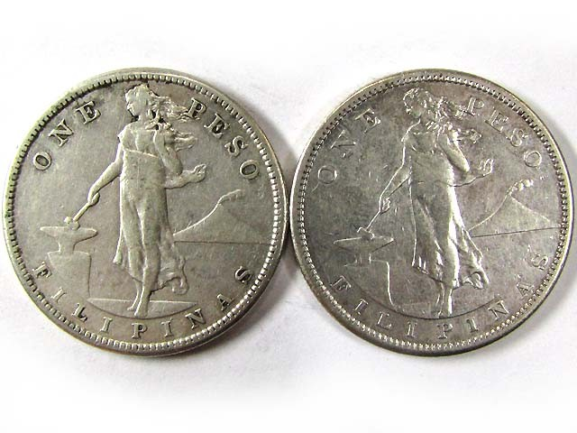 TWO ONE PESO 1908 .514 SILVER COINS CO 955