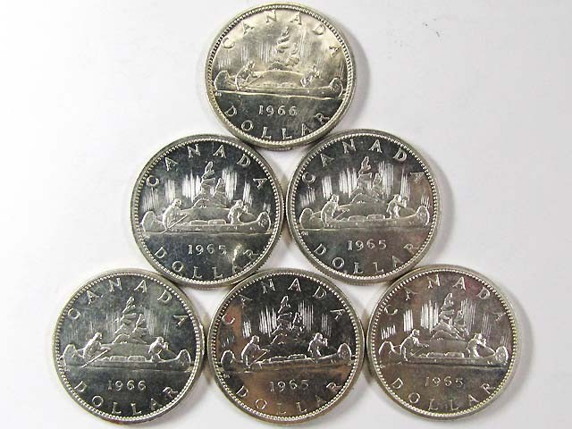 6 SILVER 800 1965 CANADIAN DOLLAR COINS CO 965