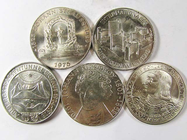 FIVE  .640 SILVER 100 SCHILLING COIN 1975 -79   CO 967