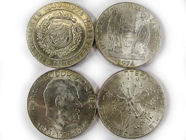 FOUR .900 SILVER 50 SCHILLING COIN  1973-74  CO 968