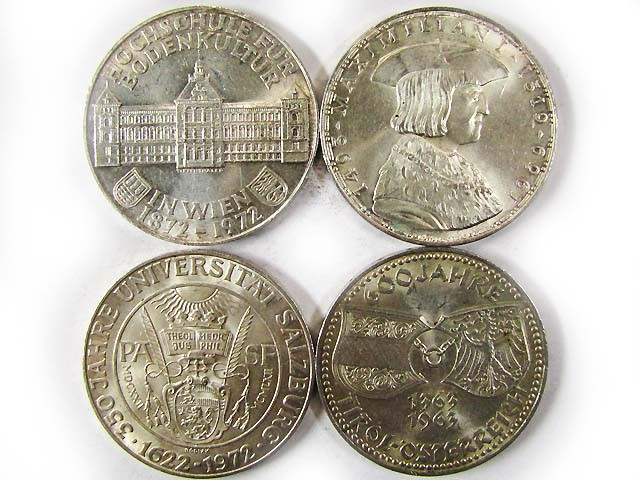 FOUR .900 SILVER 50 SCHILLING COIN  1963-72  CO 9