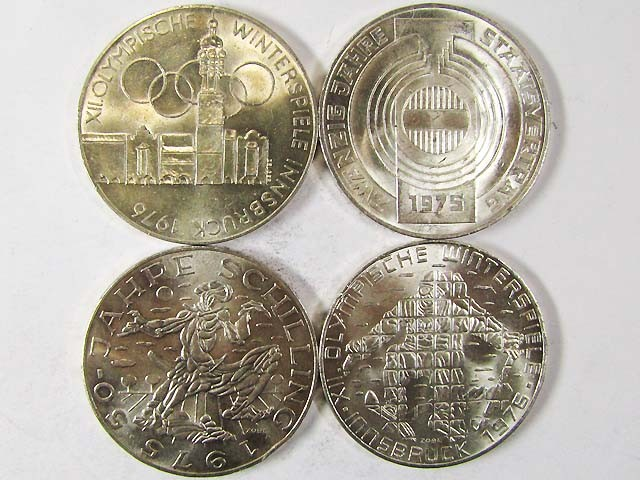 FOUR .640 SILVER 100 SCHILLING COIN  1975-76   CO 970
