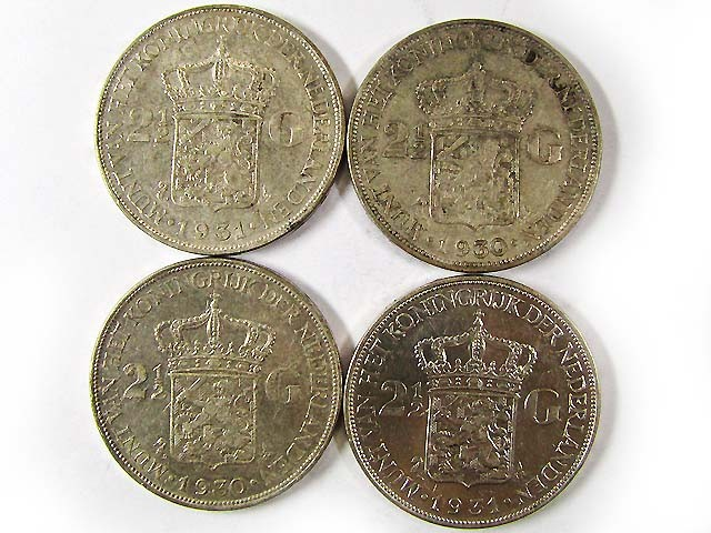 FOUR .720 SILVER 2.5 G  COINS 1930-31   CO 973