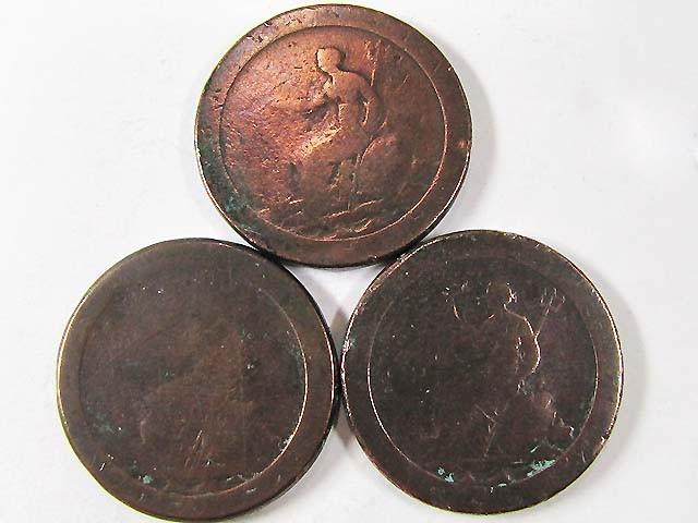 PARCEL 3 BRITISH CARTWHEEL COINS  1797-98   AC702
