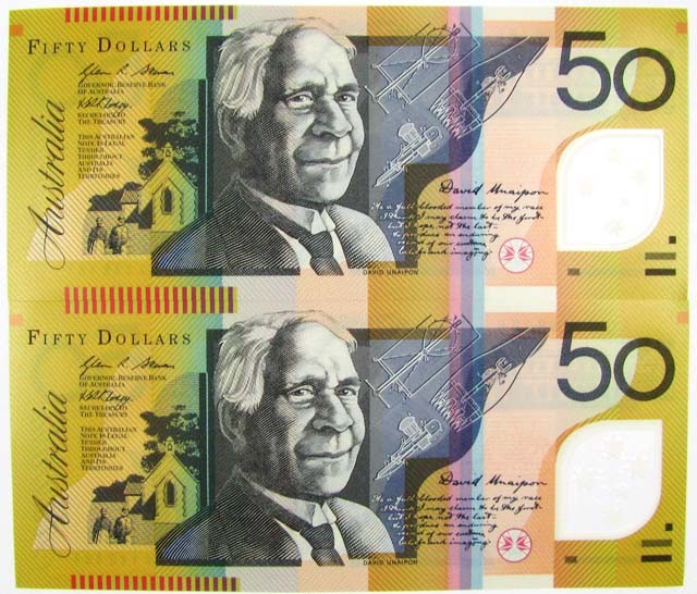 TWO  UNC $50 NOTES  AC 09146481 AND AC 09146484  CO1026