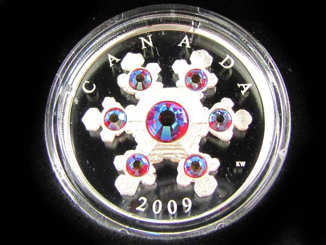 CANADIAN PROOF PINK CRYSTAL SNOWFLAKE COIN 2009