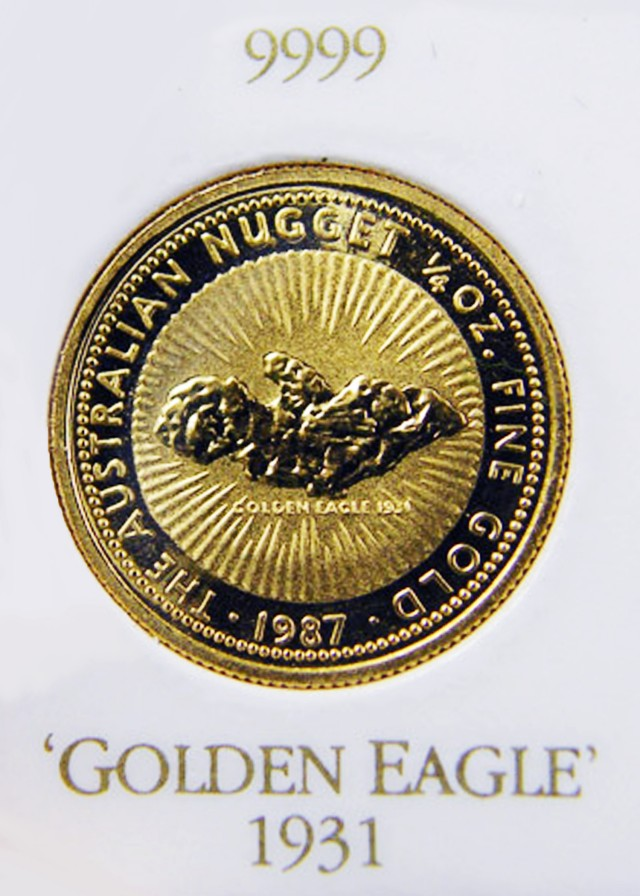 1987 GOLDEN EAGLE 1/4 OZ NUGGET GOLD COIN CO705