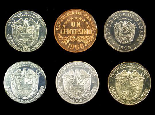 COLLECTORS SIX COIN  1966 PROOF BALBOA PANAMA  SET CO 1062