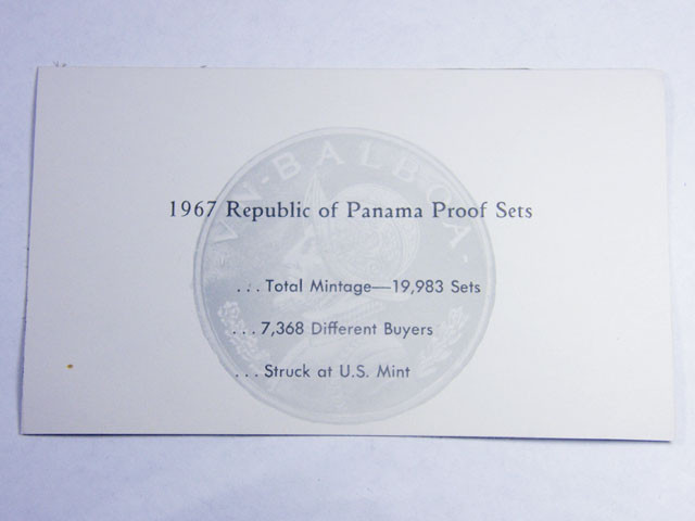 COLLECTORS SIX COIN  1967PROOF BALBOA PANAMA  SET CO 1069