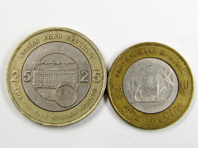 BI METALIC  COINS  SUDAN N SYRIA   J 1556