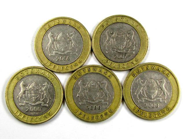 5 X BI METALIC  BOTSWANA COINS     J 1563