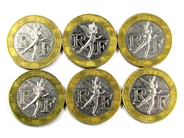 6  X FRANCE BI METALIC  COINS     J 1573