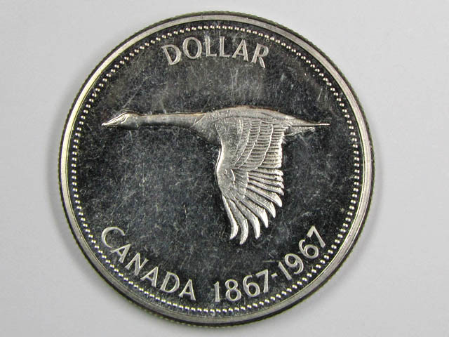 1967 CANADIAN GOOSE DOLLAR  SILVER .800 CO 1085