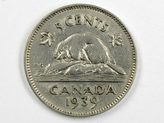 1939 CANADIAN 5 CENTS SILVER  COIN CO 9