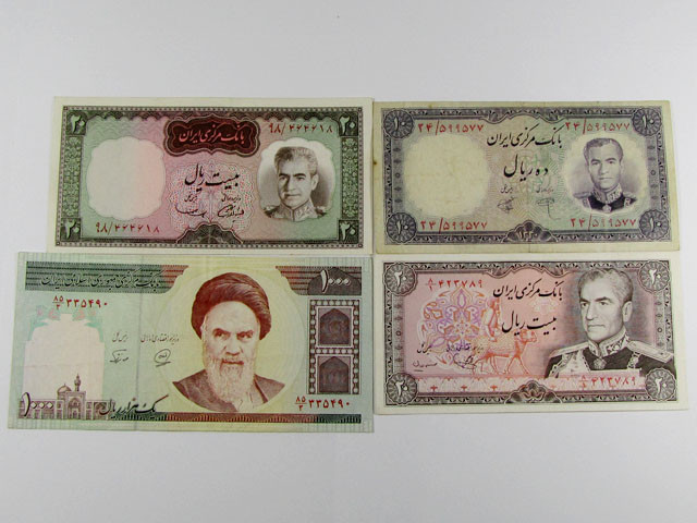 FOUR IRAN OLD N NEW NOTES FROM SHAH MIXED DATES J 1587
