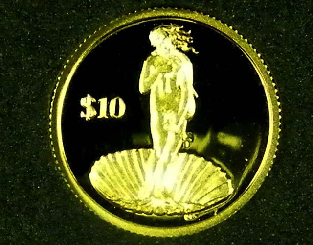 2010  Birth Of Venus 1/25 Gold  Botticelli  coinCO 1169
