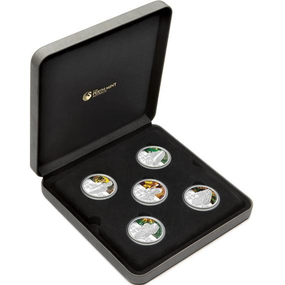 AUCTION IS FOR THE FIVE SILVER  COINS AND CASE AS IMAGES