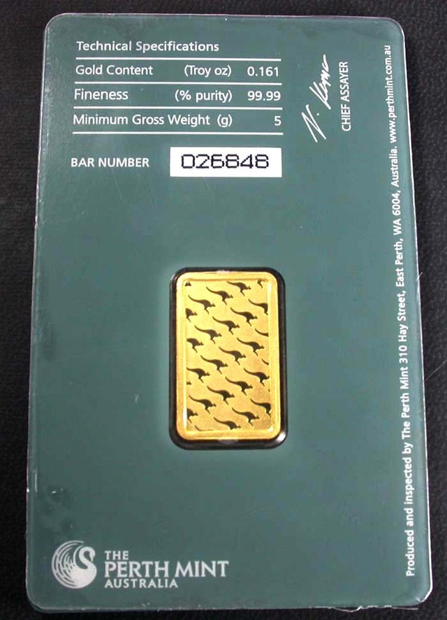 Certified 5 Gram Perth Mint Gold Bar