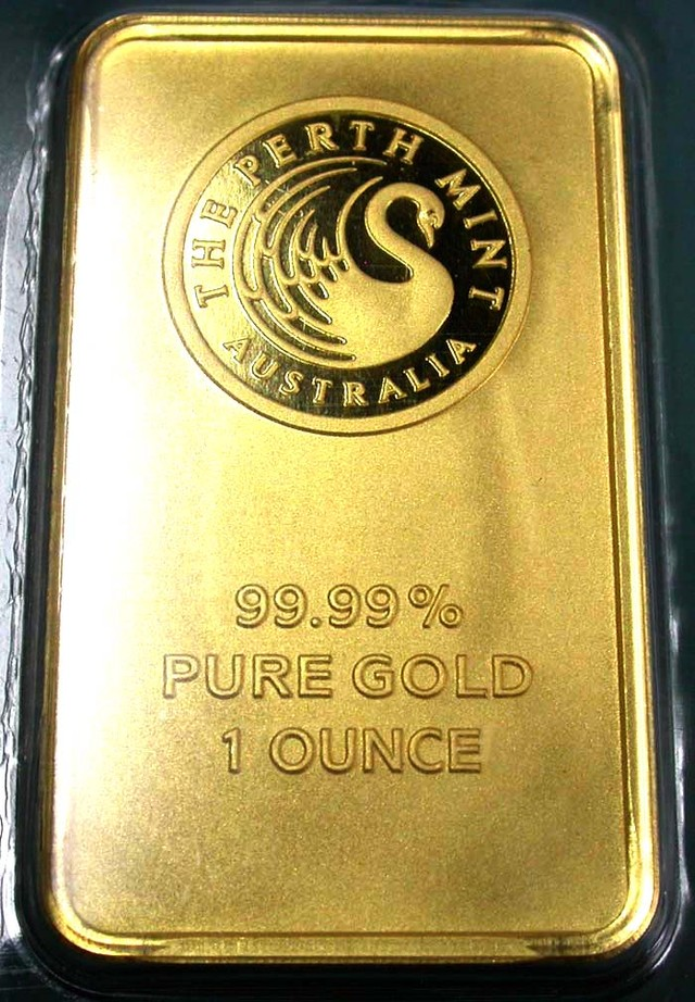 Certified One Ounce Perth Mint Gold Bar