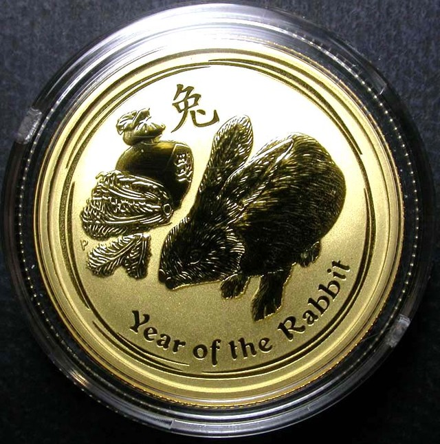 Lunar 2011 Rabbit 1/4  ounce Gold Gold Coin