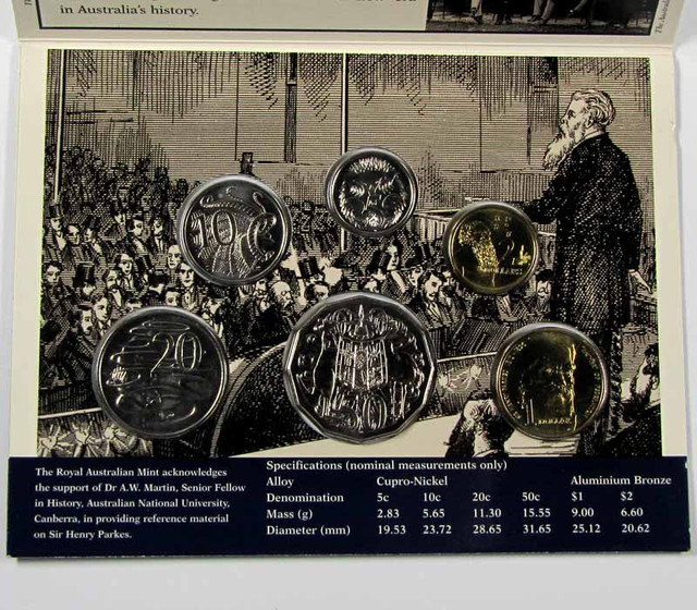 1996 UNCIRCULATED HENRY PARKES COIN SET  J1608