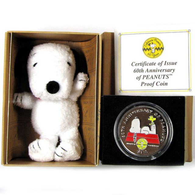 FREE SHIPPING SNOOPY ANNIVERSARY SILVER $10.00 COIN  CO 1193