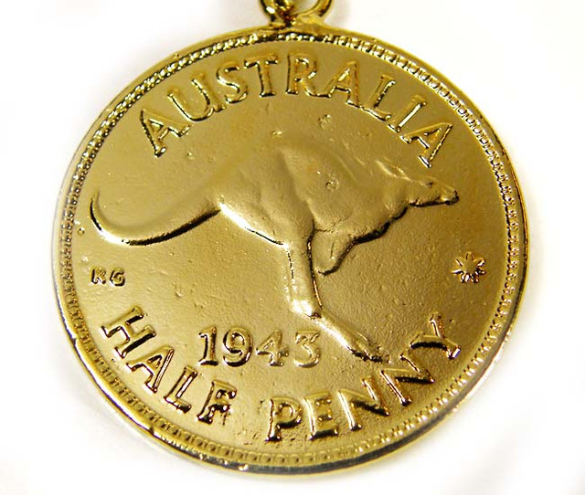 GENUINE AUSTRALIAN 1943 COIN KEY RING J1625 ML