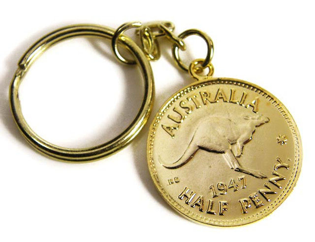 GENUINE AUSTRALIAN 1947 COIN KEY RING J1626 ML
