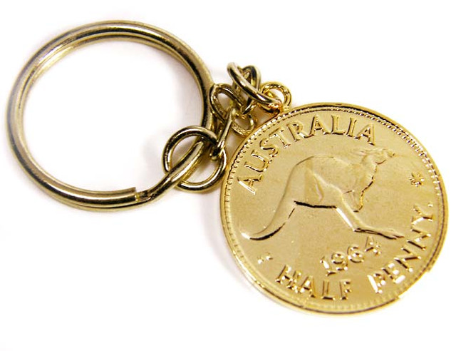 GENUINE AUSTRALIAN 1964 COIN KEY RING J1632 ML