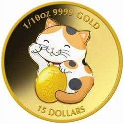 WEALTHY LUCKY WAVING YELLOW CAT 1/10OZ GOLD COIN