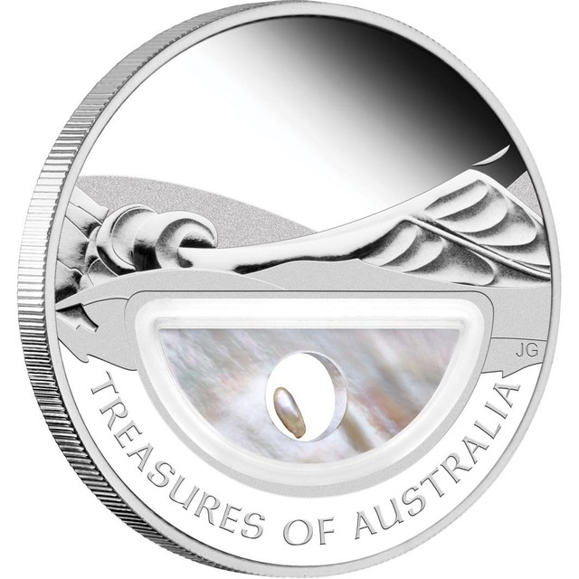 TREASURES OF AUSTRALIA - PEARLS 1OZ SILVER PROOF LOCKET COIN