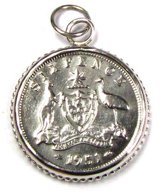 GENUINE AUSTRALIAN SIXPENCE  1951 50% SILVER J1673