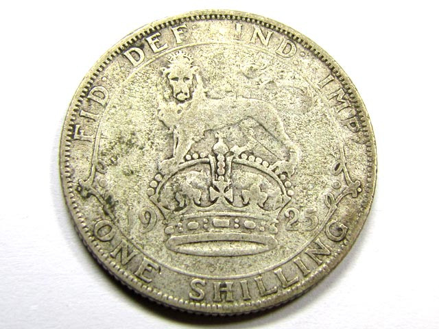 1925 ONE SHILLING .500 SILVER COIN      J 1875