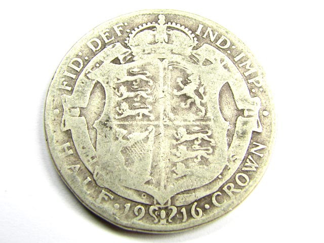 1916 HALF CROWN .925 SILVER COIN      J 1877