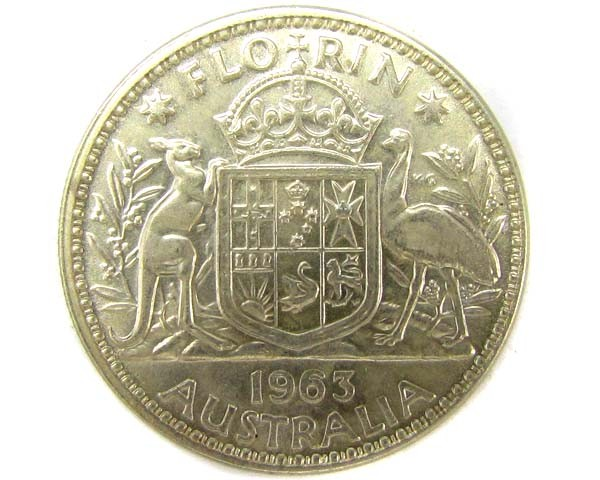 UNC AUSTRALIAN COAT OF ARMS 1963 FLORIN SILVER COIN CO916
