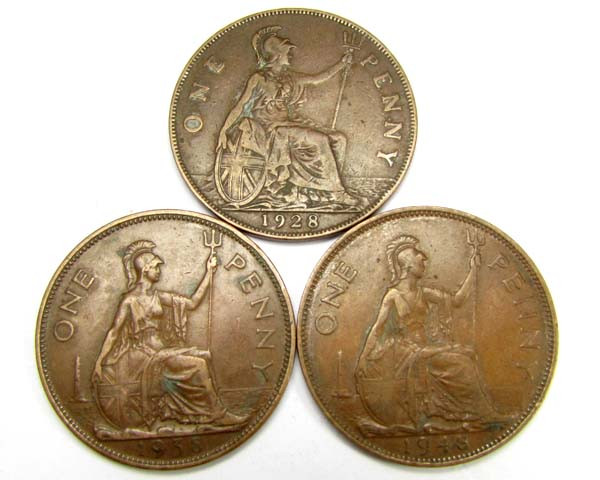 PARCEL THREE ONE PENNEY COINS 1928,38,48   J 1901