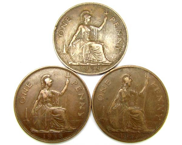 PARCEL THREE ONE PENNEY COINS  1938,47  J 1903