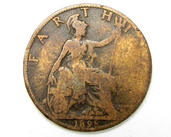 1898 farthing coin     J 1909