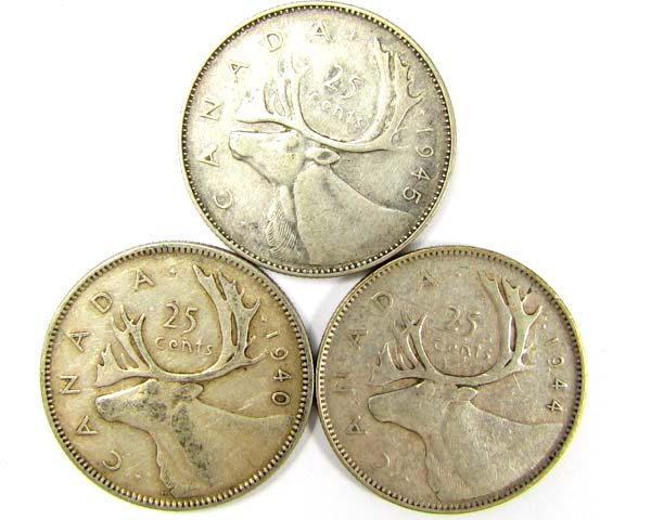 PARCELTHREE .25 CENTS .800 SILVER 194044,45, COINS    J 1915