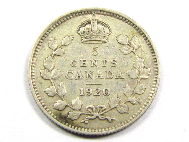 CANADIAN 5 CENTS 1920 .800    SILVER COIN CO999