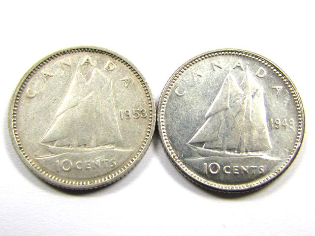 CANADIAN  10 CENTS   SILVER COINS 1949,53 CO1008