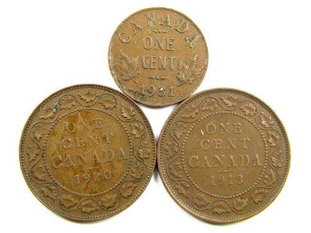 CANADIAN   ONE CENT COINS 1920,13,31 CO98