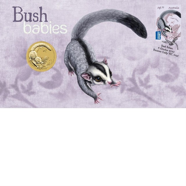 Australian Bush Babies Coloured Glidern Stamp