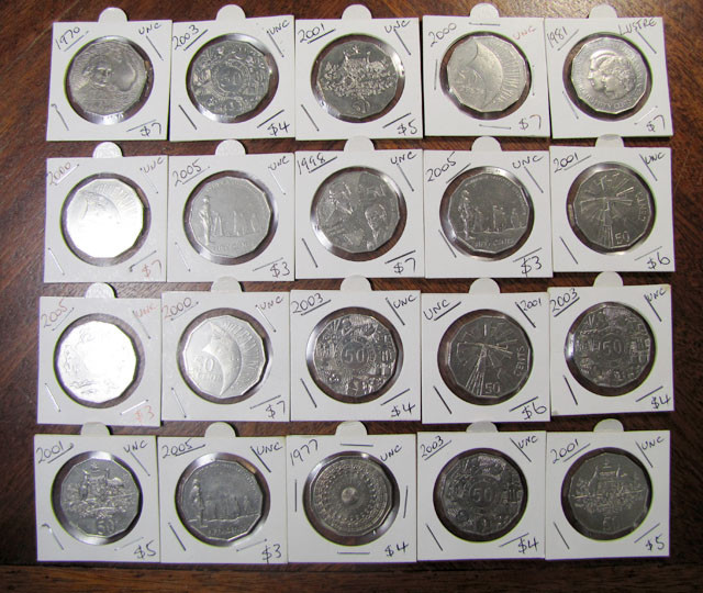 COLECTION 20 .50 CENT PIECES 1970 TO 2007  J 1973