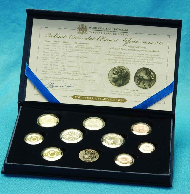 Official Boxed 2011 Malta Euro Coin Set - 10 Coins